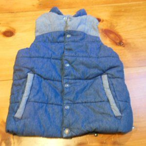HANNA ANDERSSON 120 Blue Puffer Vest Snap Up